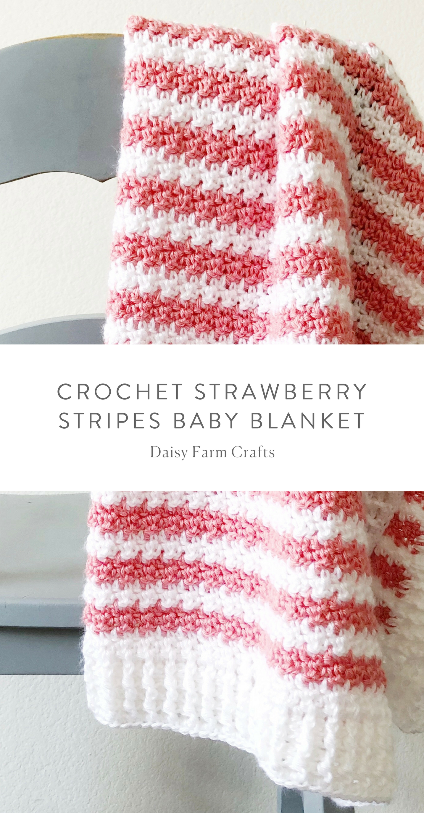 Free Pattern - Crochet Strawberry Stripes Baby Blanket #crochet ...