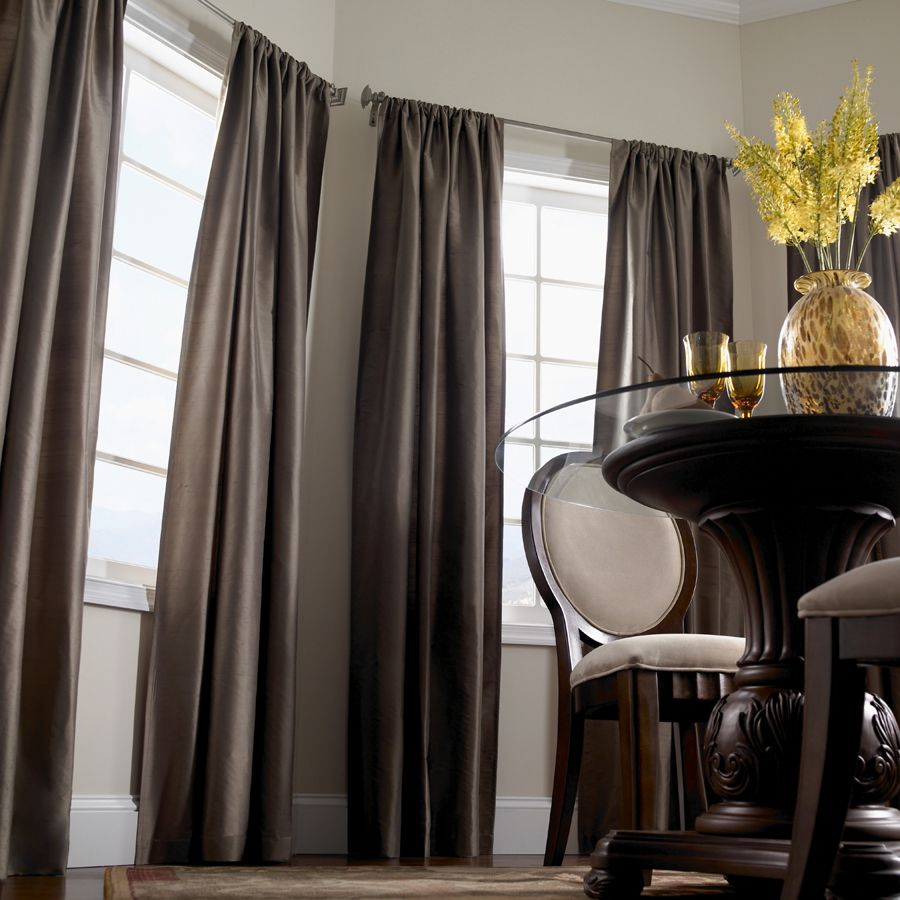 Create An Elegant Dining Room By Using Dark Coloured Curtains With A  Jacquard Texture And Contrast