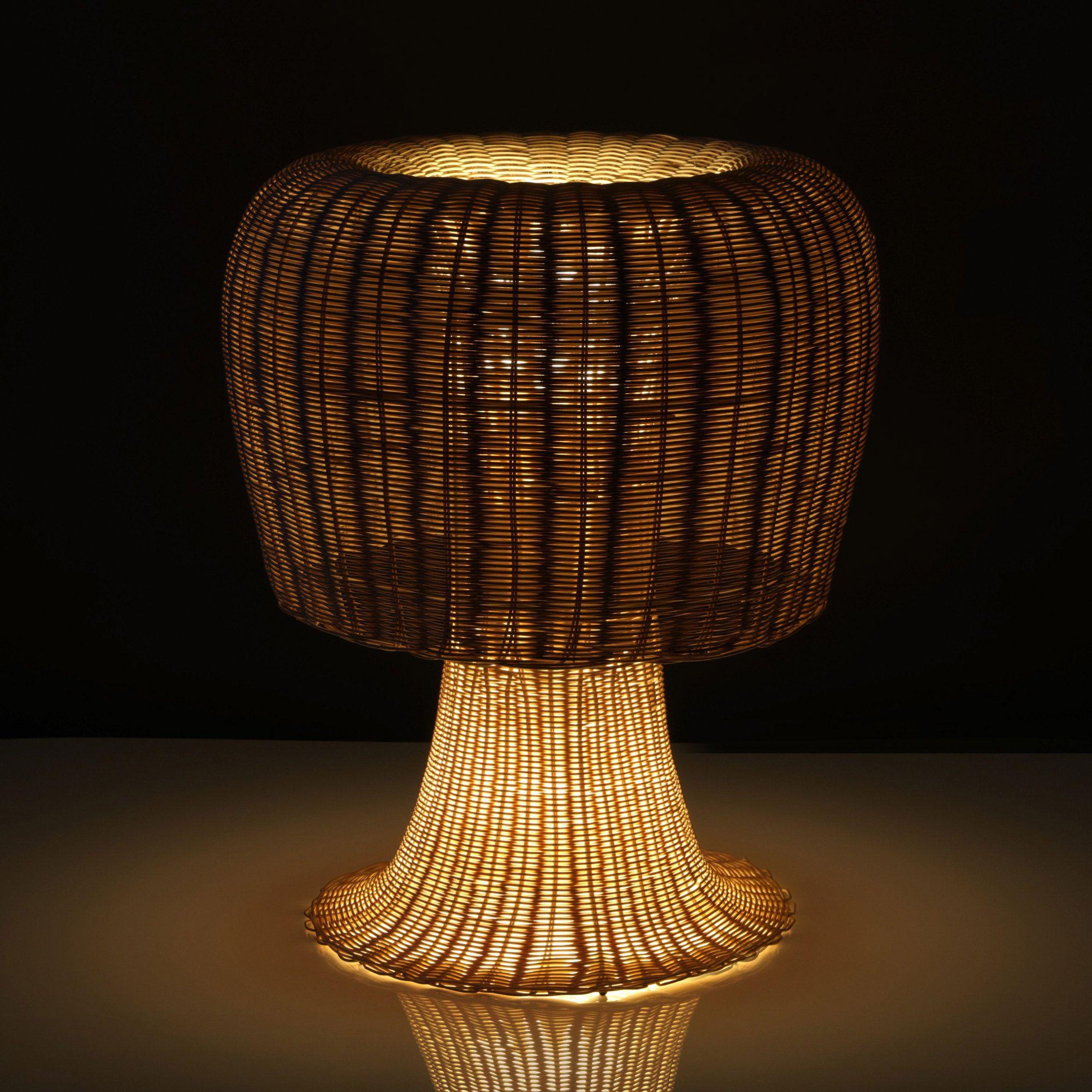 lampe poser rotin h60cm amanita rotin chantier et lampes. Black Bedroom Furniture Sets. Home Design Ideas