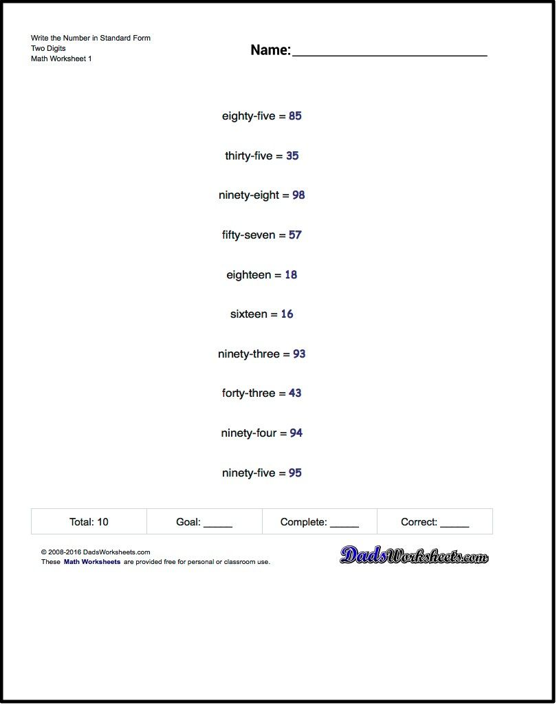 Practice Worksheets For Converting Numbers From Written Notation