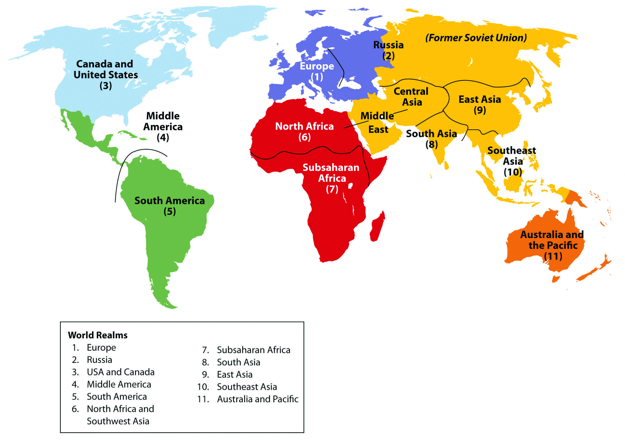 World Regions 12 Regions Of The World Map