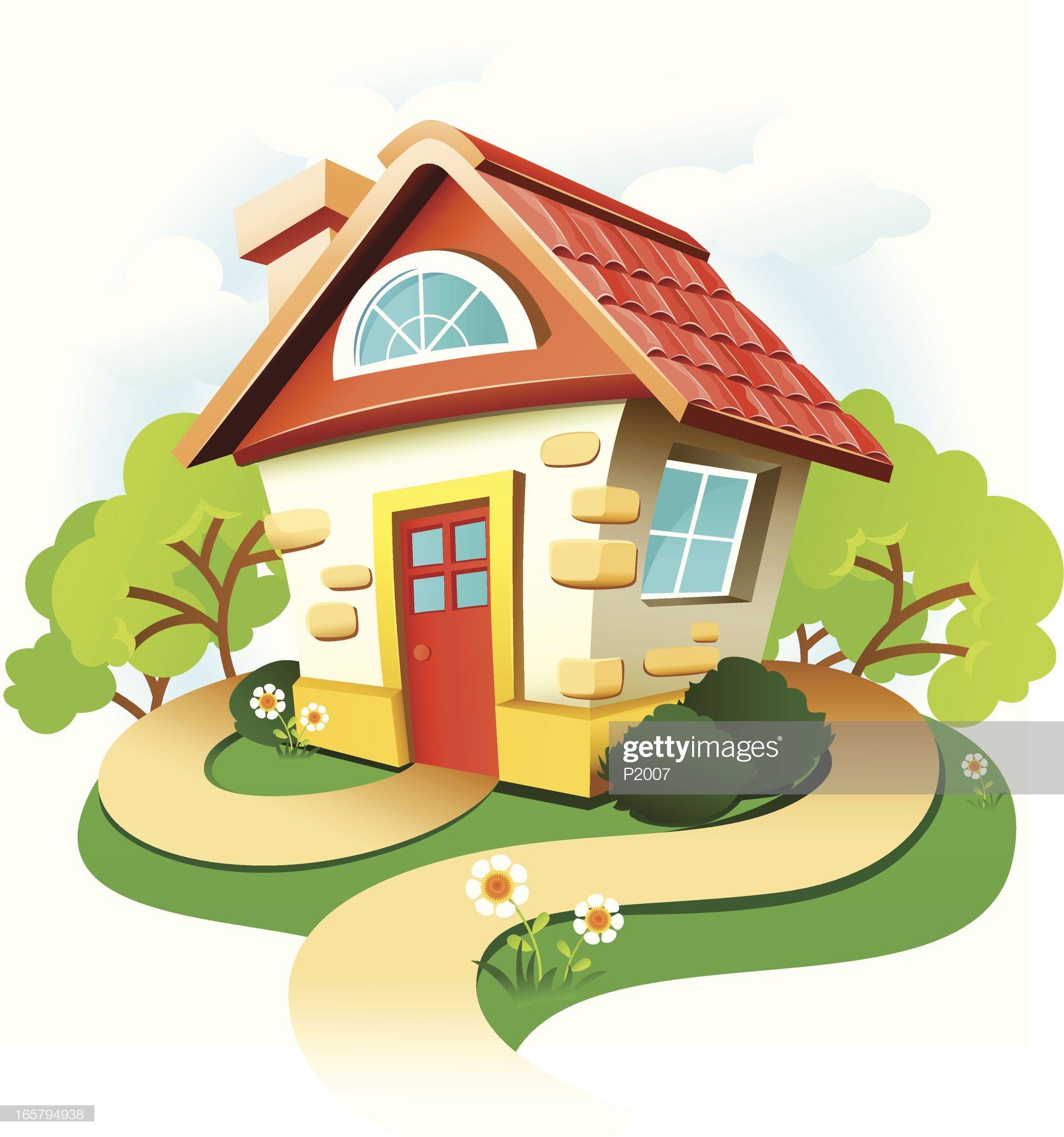 Vector Illustration Of A Cute Little Cottage High Resolution Jpg En 2020 Deco Creche Illustration Maison De Campagne