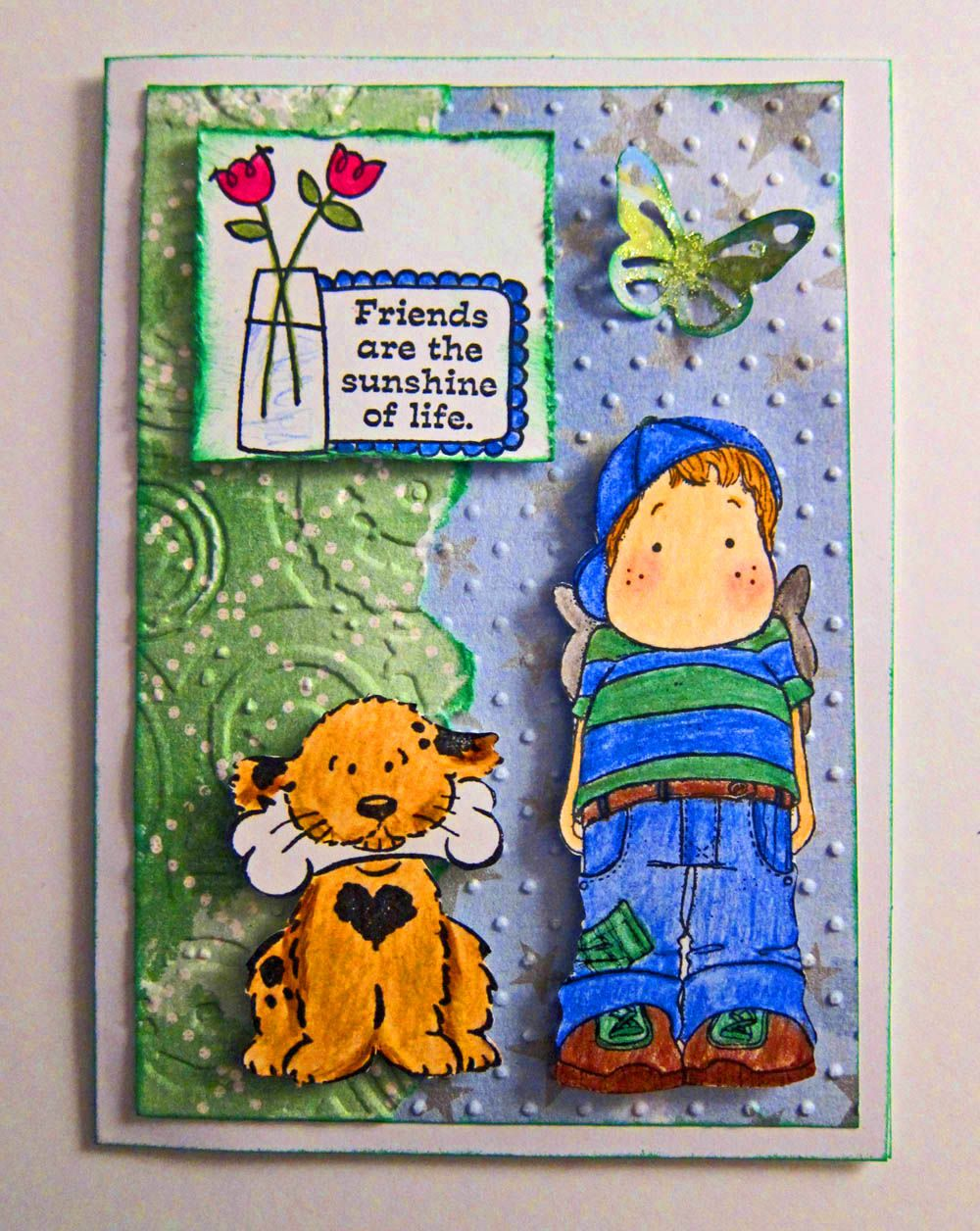Friend card with a Magnolia stamp