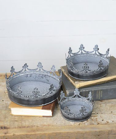 This Tin Crown Tray   Set Of Three Is Perfect! #zulilyfinds