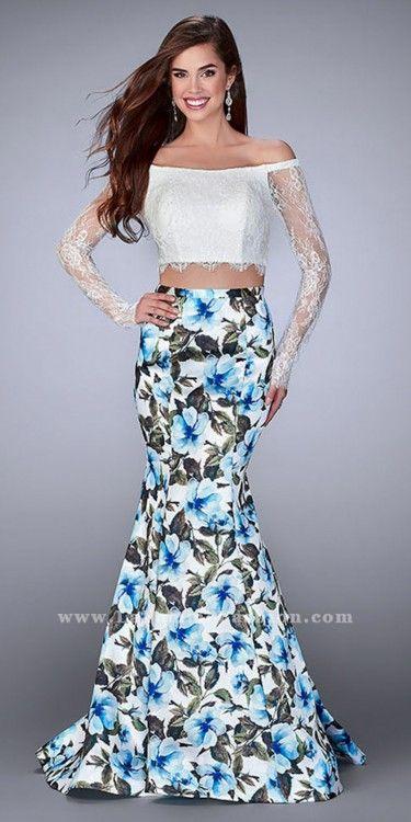 La Femme Two Piece Off the Shoulder Floral Print Mermaid Prom Dress ...