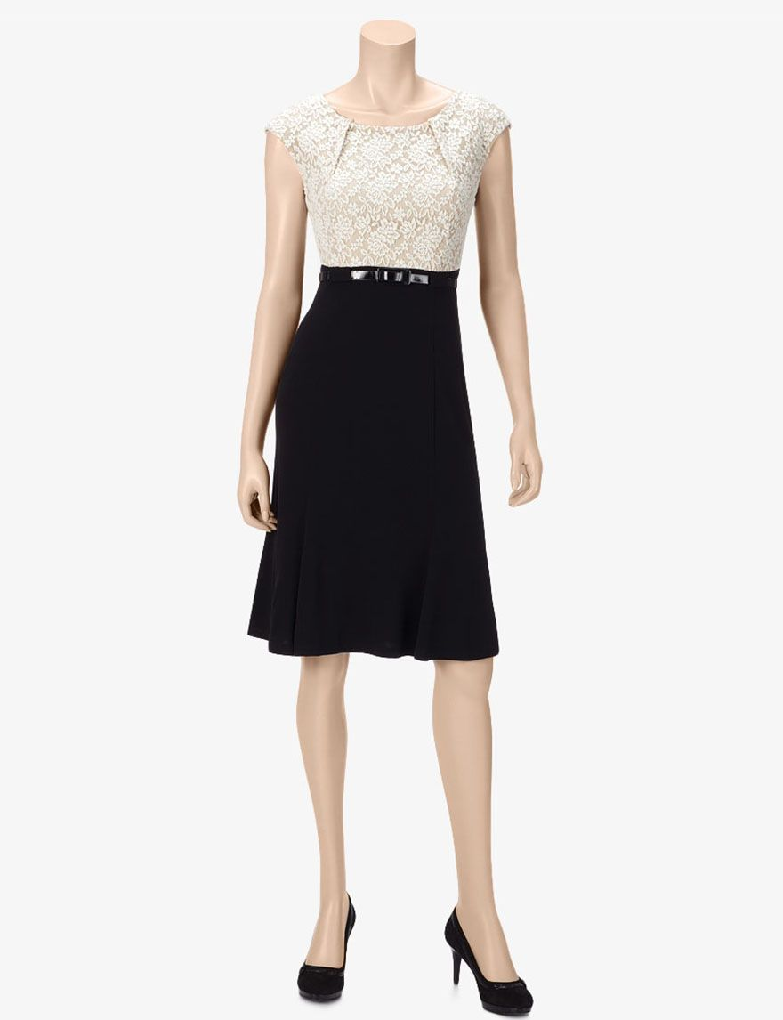 Connected Champagne & Black Belted Lace Dress – Misses | Stage Stores