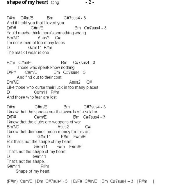 Shape Of My Heart 2nd Page Chords Told You So My Heart Love You