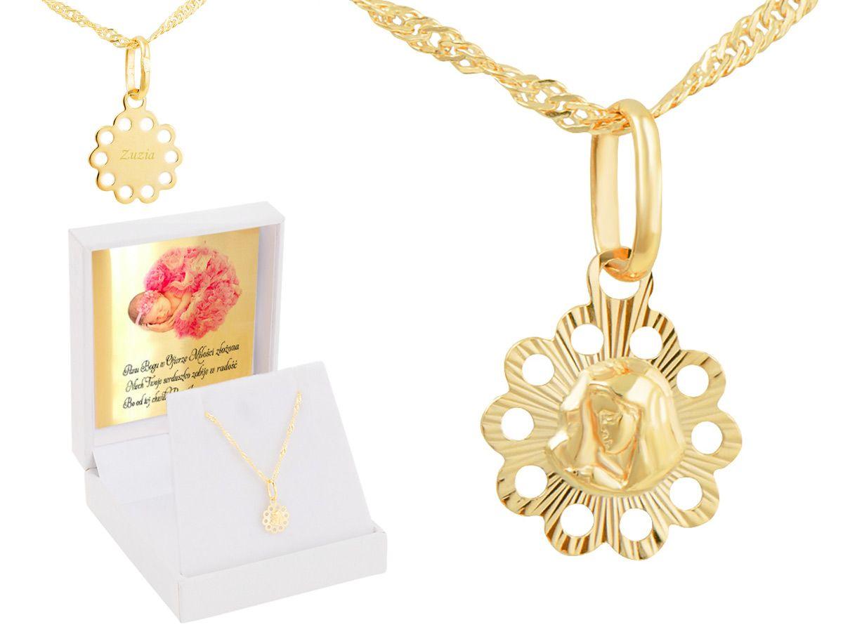 051c9e0f2fd94e Złoty medalik z łańcuszkiem próba 585 z wizerunkiem Matki Boskiej Chrzest  Komunia Bierzmowanie GRAWER