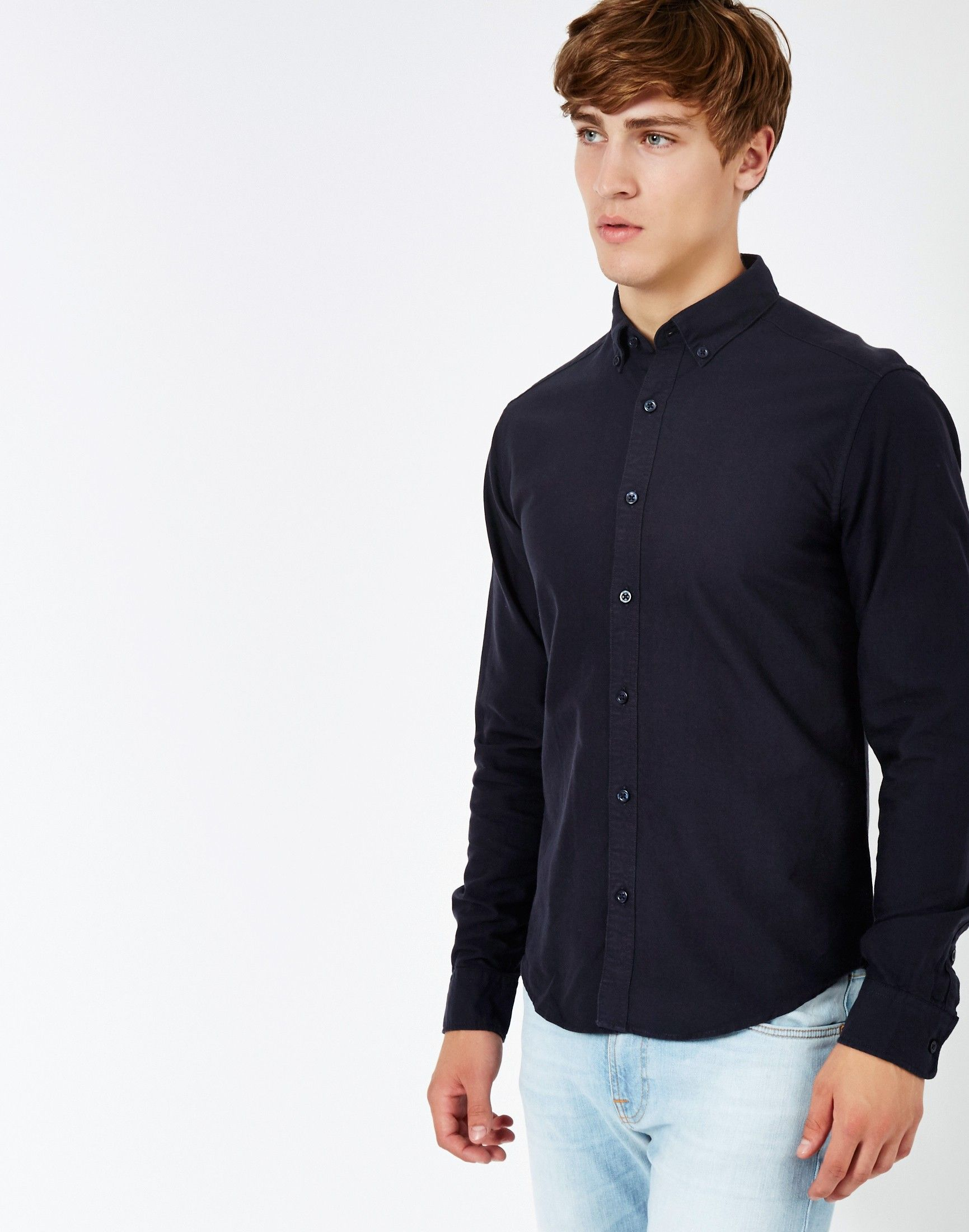 Only & Sons Sebastian Oxford Shirt in Navy | Shop all men's shirts ...