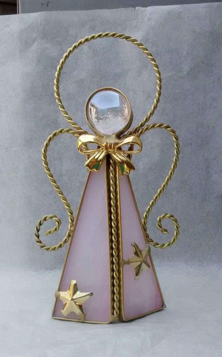 Recuerdos angelitos vitral laton porta vela 12cms - Porta velas navidenas ...