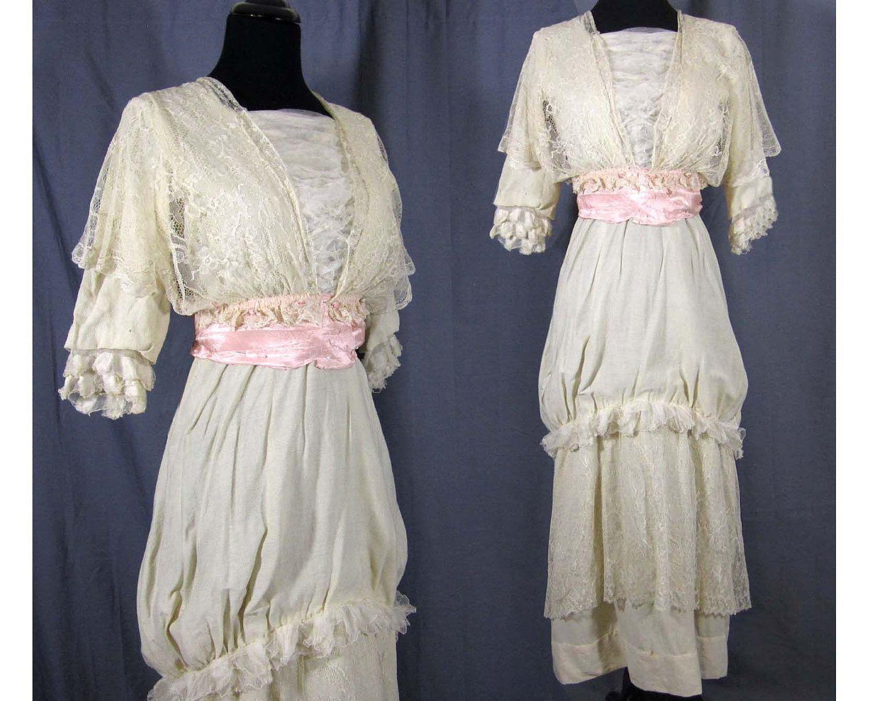 Antique edwardian wedding dress ca silk u lace for