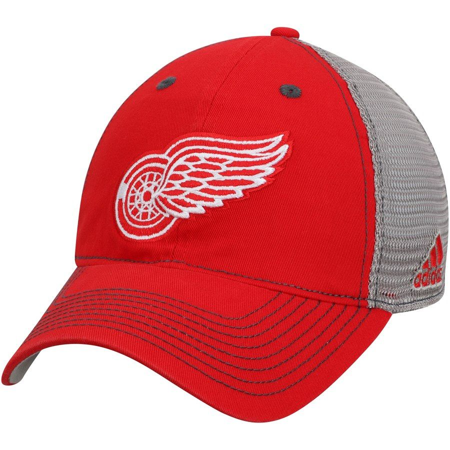 2bed8885fa631 Men s Detroit Red Wings adidas Red Gray Slouch Mesh Back Flex Hat ...