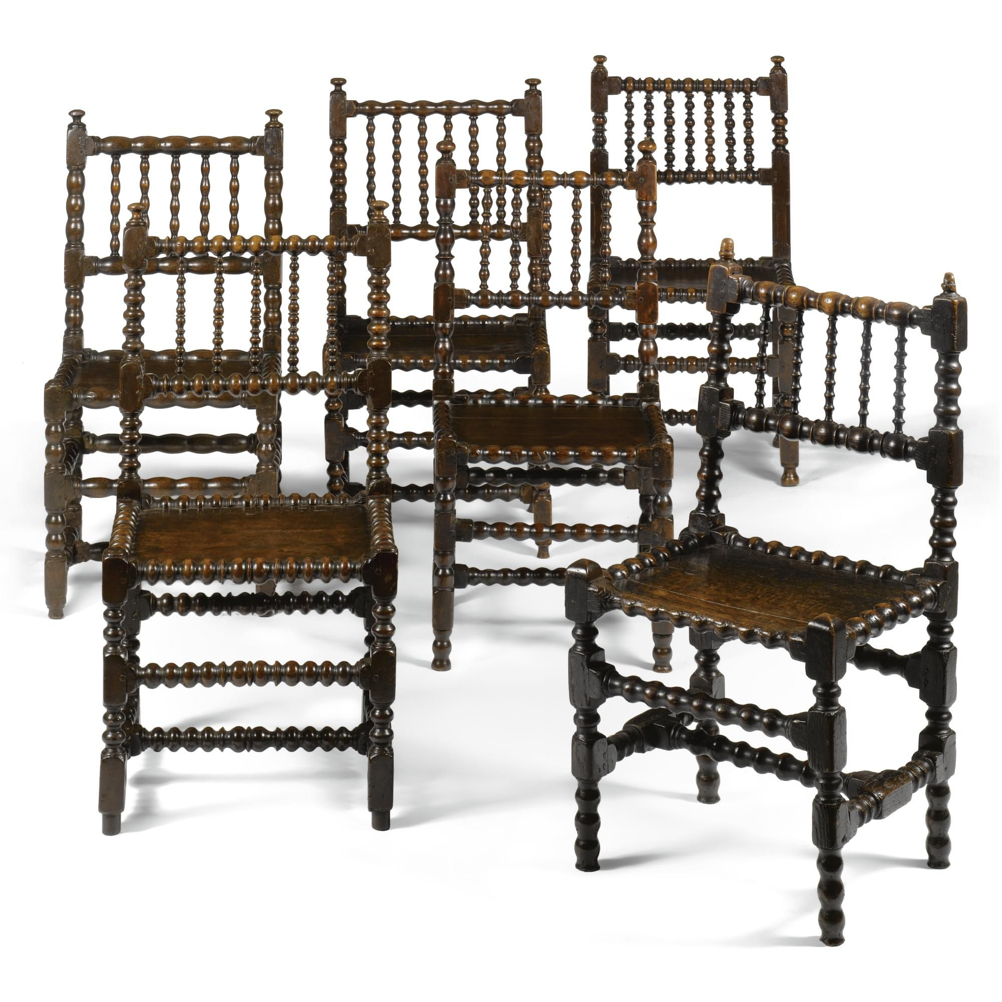 Five Chairs A Matched Set Of Six Charles Ii Oak Bobbin Turned Chairs