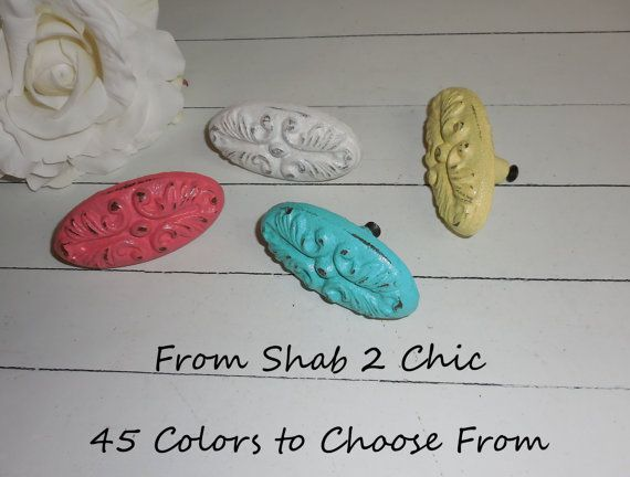 Decorative / Cast Iron / Knob / Painted Knob / by FromShab2Chic