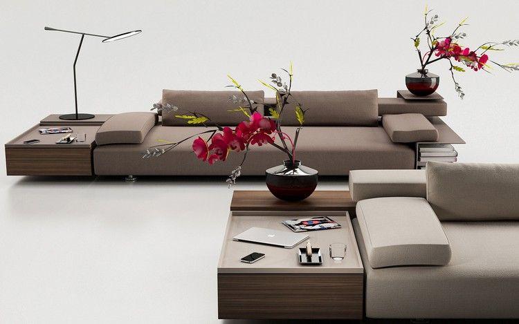 meuble salon design et canapés bas gris perle de style minimaliste