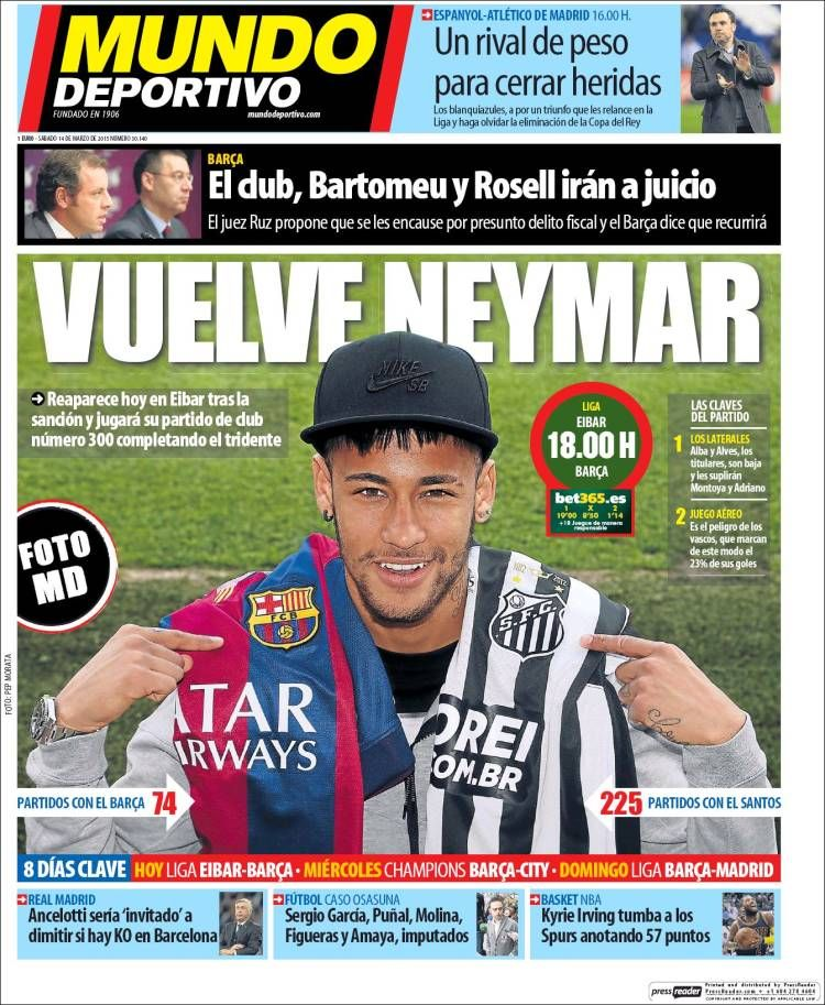 Sergio Ramos al rescate, vuelve Neymar las portadas (con