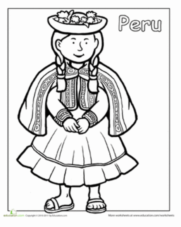 Ten Free Peru Learning Activities For Kids Mommymaleta Hispanic Heritage Month Coloring Pages Dance Coloring Pages