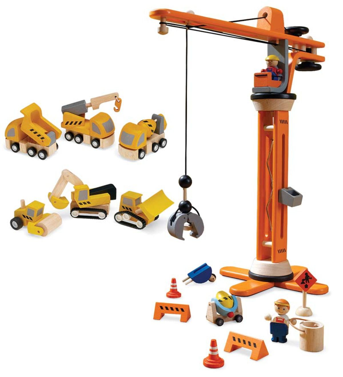 Plan City 174 Crane Set And Construction Vehicles Wooden