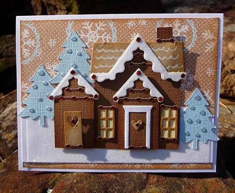 Новогодняя открытка в форме домика скрапбукинг