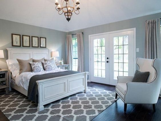 Dusty Blue And White Master Bedroom