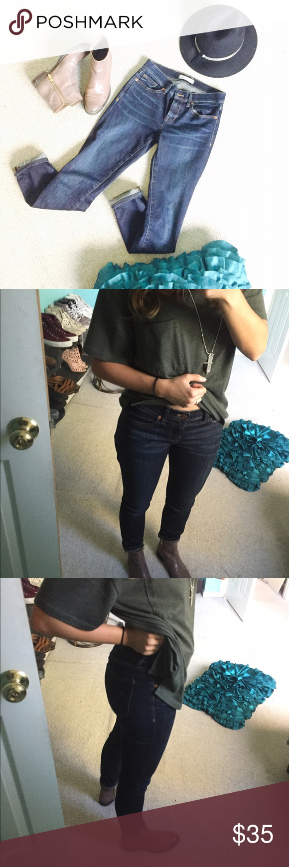 Madewell Skinny Skinny Denim Jeans These jeans are in perfect condition and super cute for the spring or summer coming up🌞 true color shown well in last pic! They are dark with a light wash down the middle front :) (only selling bc I like high wasted better) Madewell Pants Ankle & Cropped