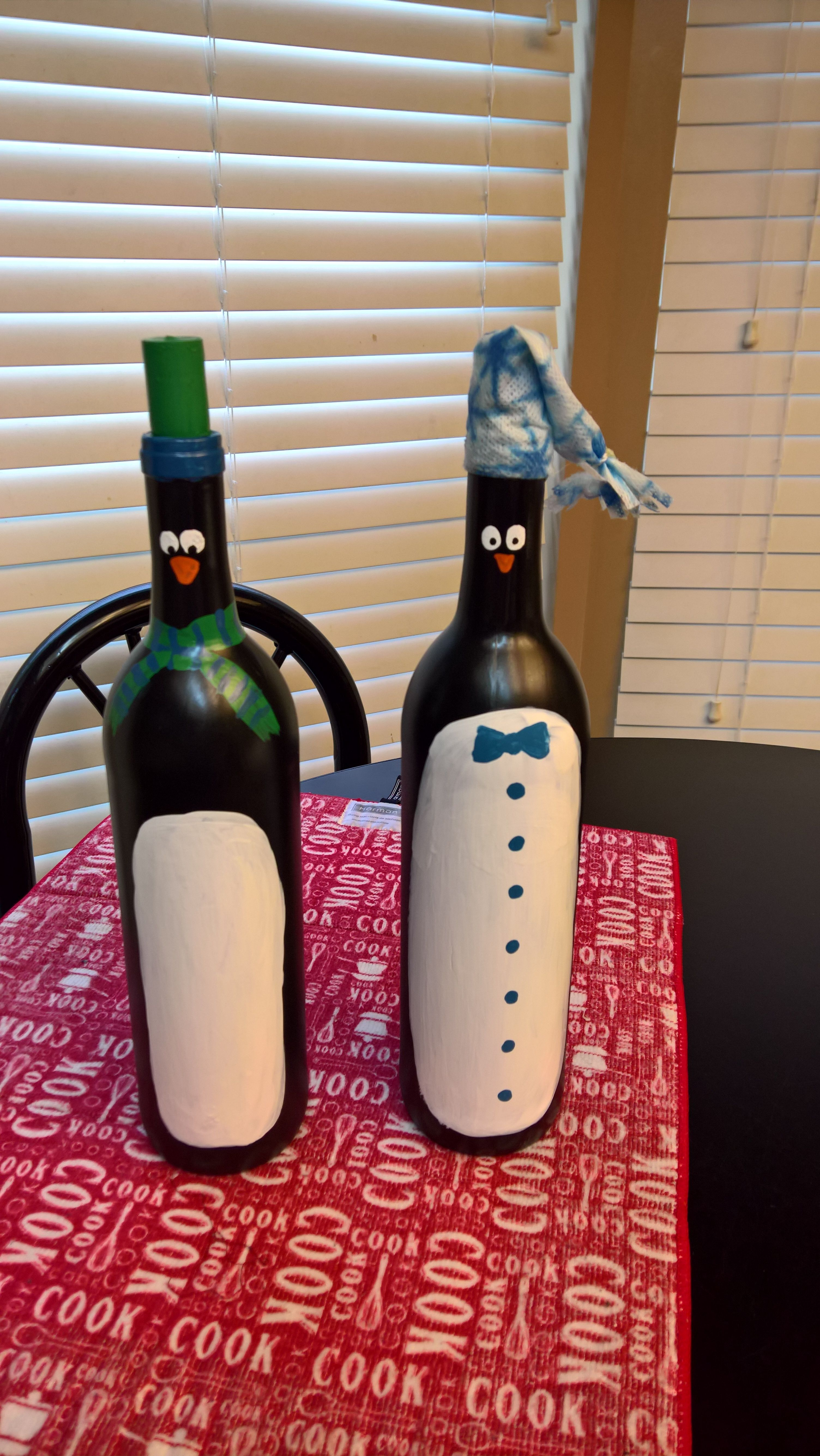 Wine Bottle Penguins Hand Painted And Adorable Hand Painted Wine Bottles Painted Wine Bottles Wine Bottle