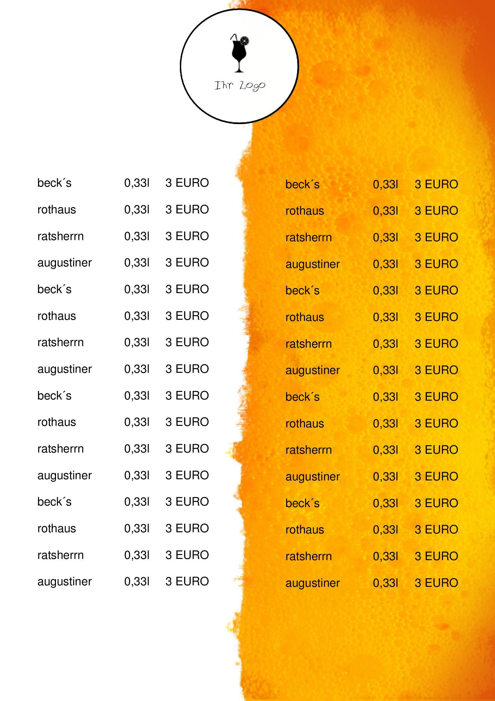 Wer Einen Neuen Biergarten Bzw Ein Restaurant Aufmacht Und Noch Nicht Das Geld Fur Eine Schone Getrankekarte Hat Oder Wer E Getranke Karte Karten Speisekarte