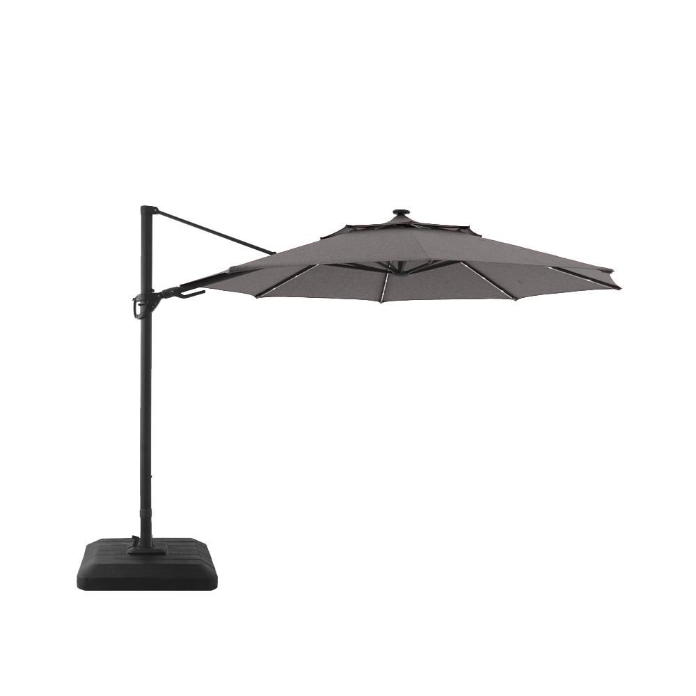 Allen Roth 11 Ft Led Cantilever Umbrella Grey Lowe S Canada Patio Umbrellas Cantilever Umbrella Offset Umbrella