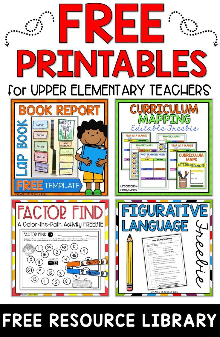 Get access to free printables for upper elementary