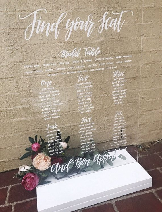 ACRYLIC Wedding Seating Chart | Clear Perspex Acrylic Wedding ...