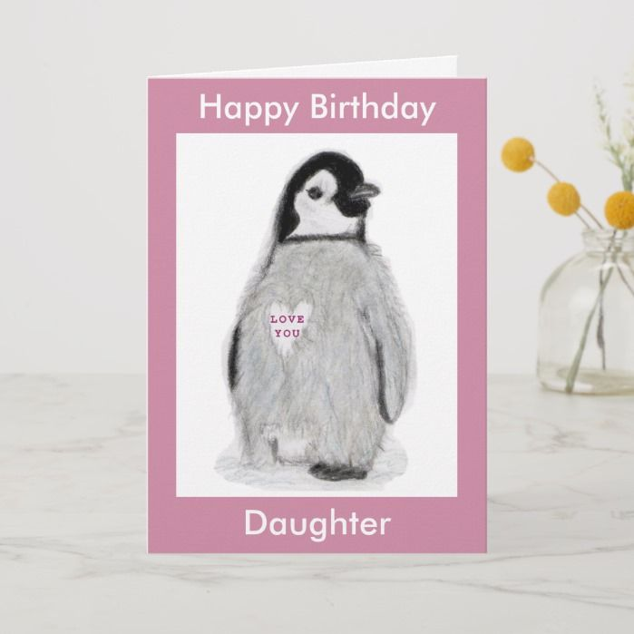 Penguin Heart birthday card daughter mum etc. | Zazzle.com #mumsetc