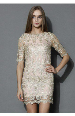 c4468f6d76a8 Golden Lace Embroidered Body-con Dress - Dress - Retro