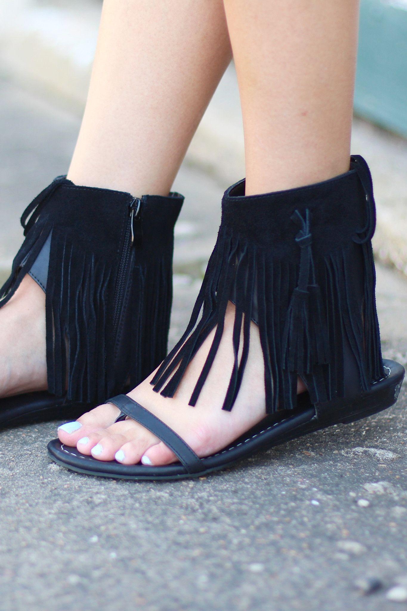 ccf59c52c2423b Lex Fringe Sandal by VERY VOLATILE  Black
