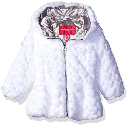 6b1bb6d54 London Fog Baby Girls Heart Embossed Faux Fur Fashion Coat White 24 ...
