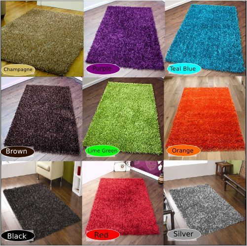 Details About High Pile Shaggy Uni Modern Rug Black