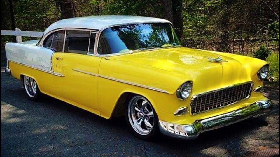 55 chevylove bright colors on the old cars classic