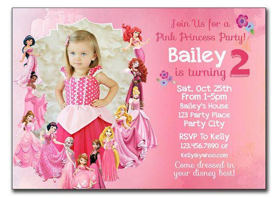 All Disney Princesses In Pink Birthday Card All Princesses Disney Invitation Princess Princess Birthday Invitations Pink Princess Birthday Princess Invitations