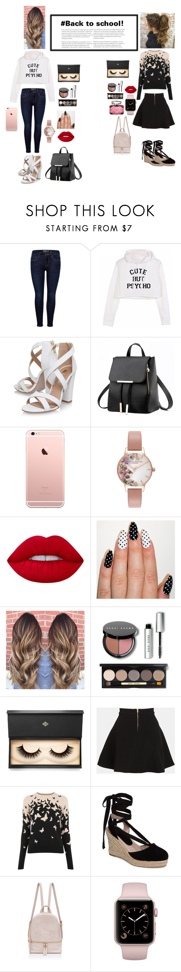 """""""#Back to school!"""" by bigdreamer02 ❤ liked on Polyvore featuring Miss KG, Olivia Burton, Lime Crime, Bobbi Brown Cosmetics, Lash Star Beauty, Parker, Topshop and Gucci"""