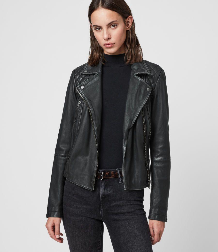 Damen Cargo Leder Bikerjacke Black Grey Distressed Leather Jacket Leather Jackets Women Leather Jacket [ 1044 x 900 Pixel ]