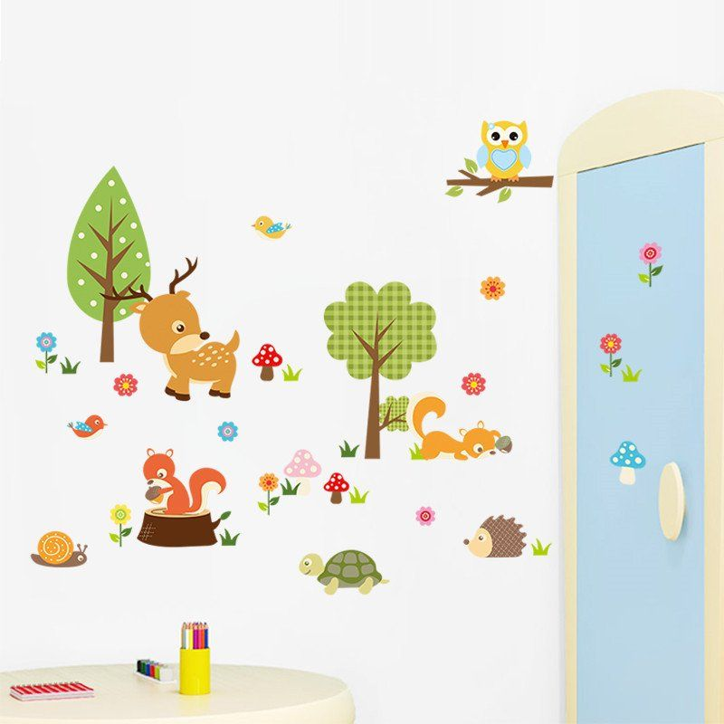 Best Cartoon Forest Animals Wall Stickers Kids Room Wall Stickers Nursery Wall Decals 400 x 300