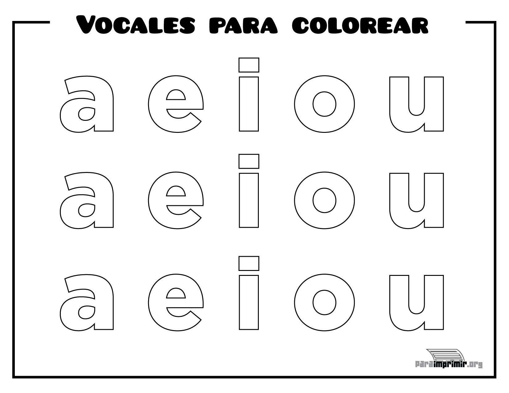 Vocales para colorear y para imprimir | preescolar | Pinterest ...