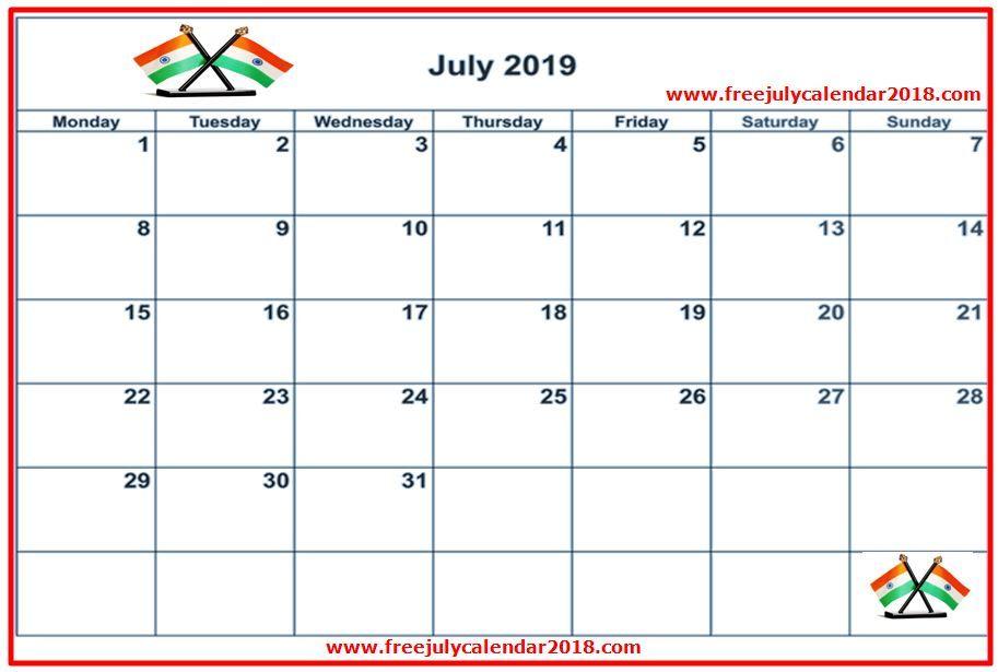 July 2019 Calendar India Tamil Telugu Calendar Printables