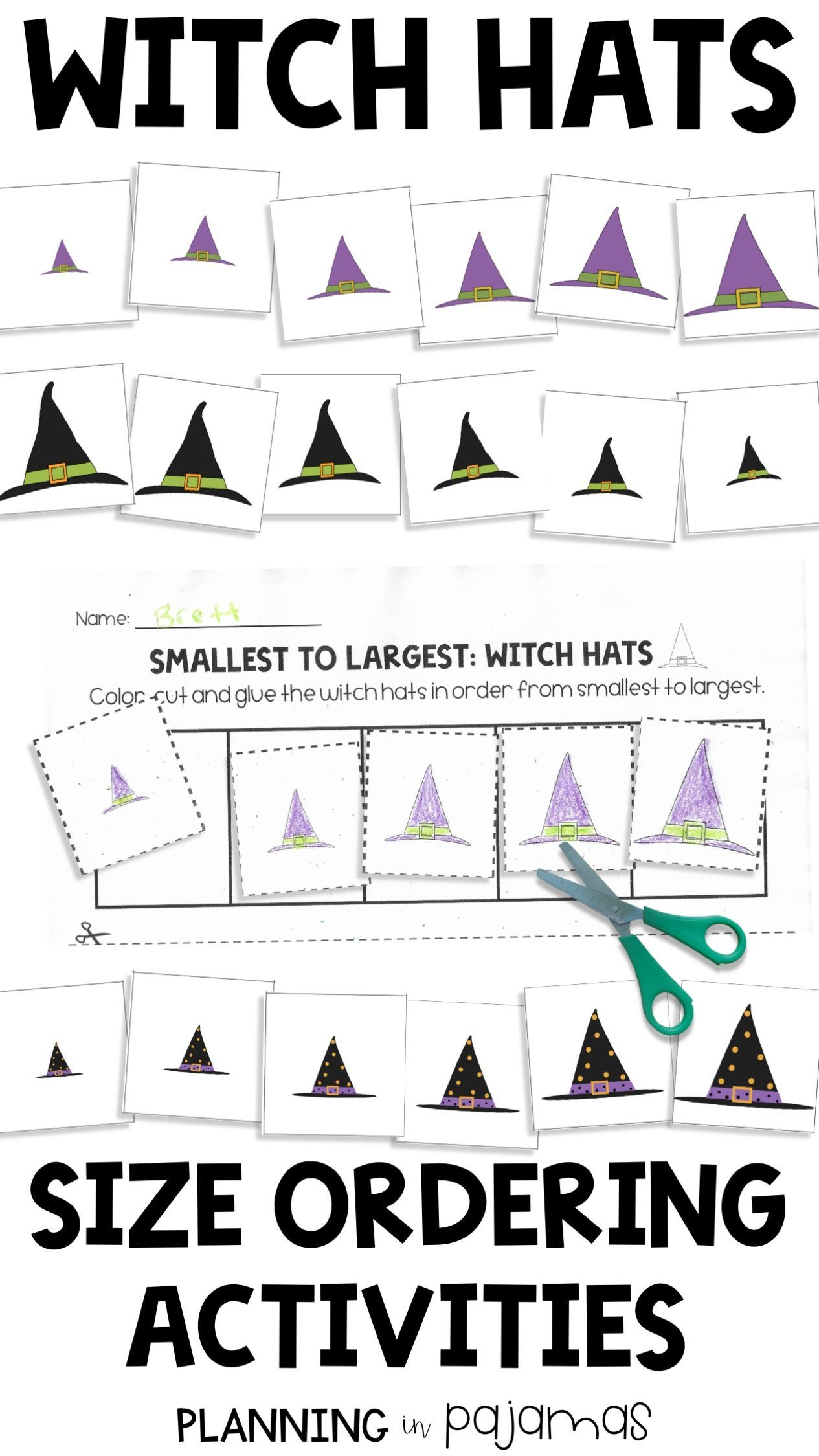 Witch Hats Activities To Practice Non Standard Measurement And Differentiate By Size Perfect For A Halloween Theme Th Kindergarten Games Activities Witch Hat