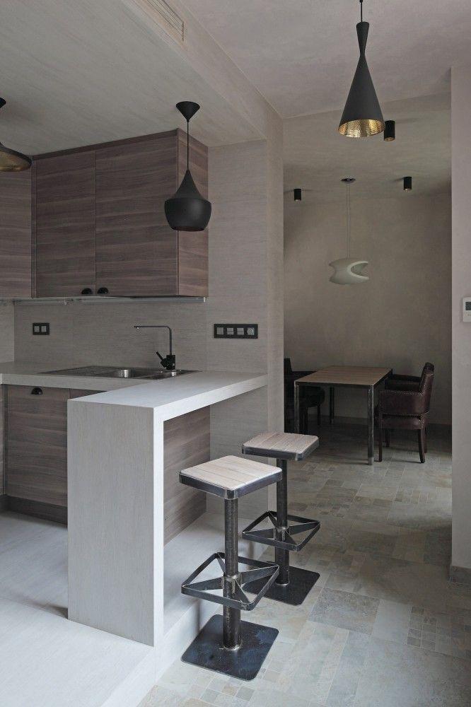 Smolenka Oak Tube Apartment Peter Kostelov Banos Y Cocinas - Cocinas-modernas-con-barra-americana