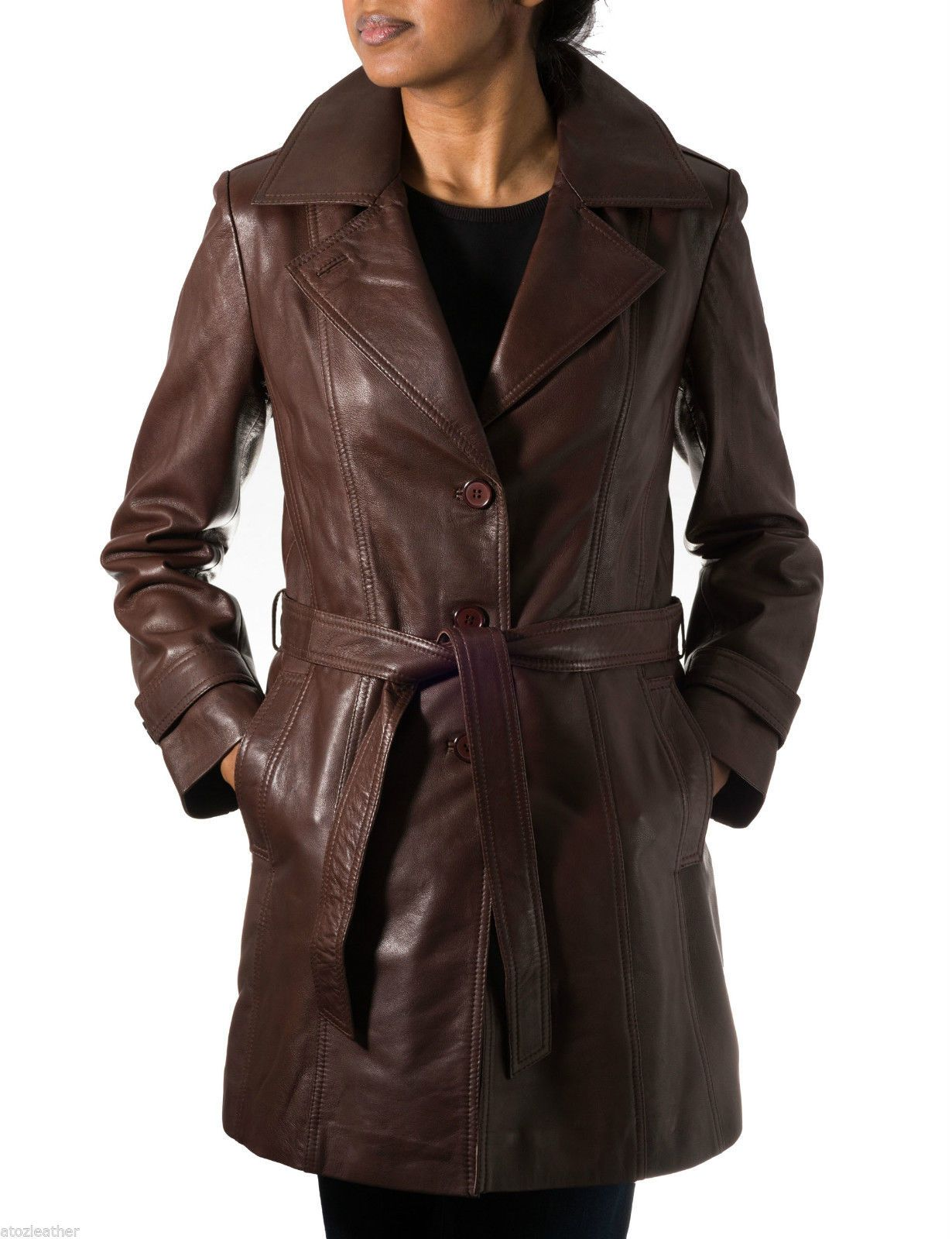 With 3 Classic Fitted Coat Real Length Belt Ladies 4 Leather Trench axdw6Sqn5