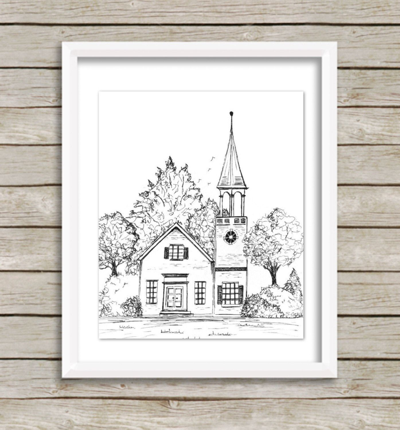 Original Pen And Ink, Church Drawing, Black And White Print,