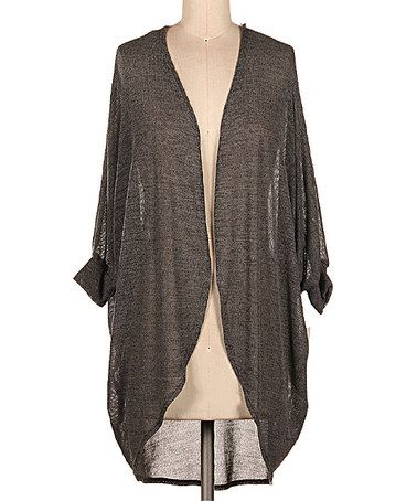 Loving this Charcoal Sheer Open Cardigan on #zulily! #zulilyfinds