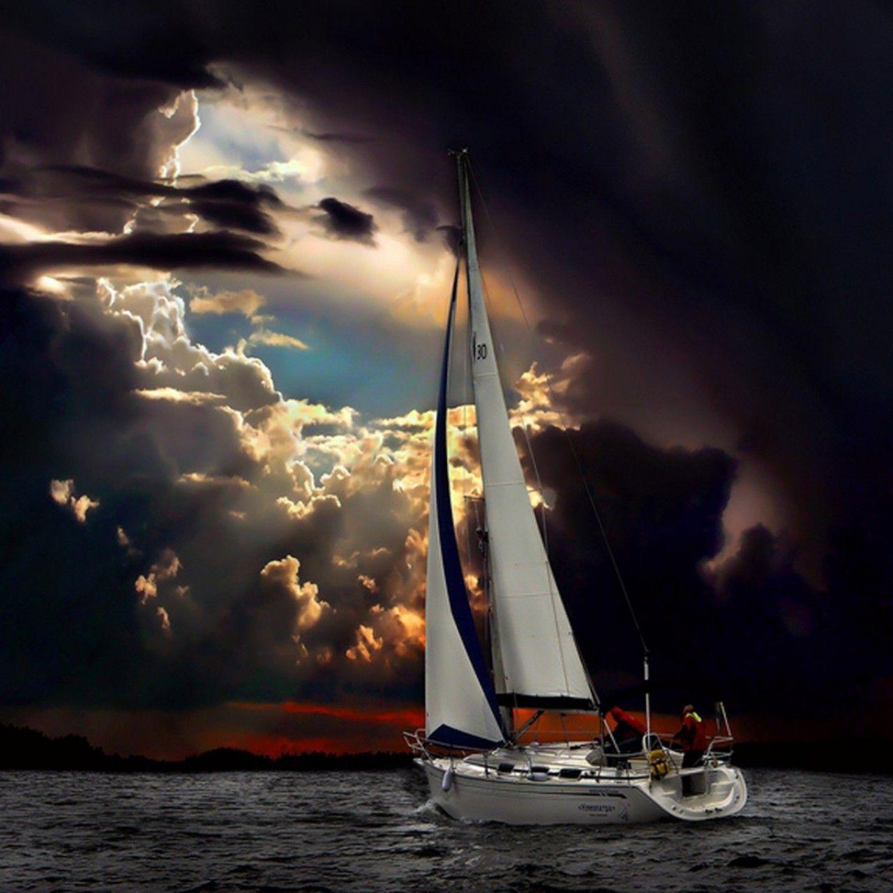 Navigation, Sea, Dark Clouds, Storm, Nature