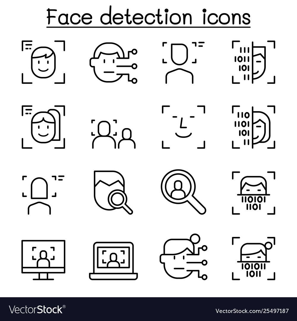 Face detection face recognition icon set in thin Vector