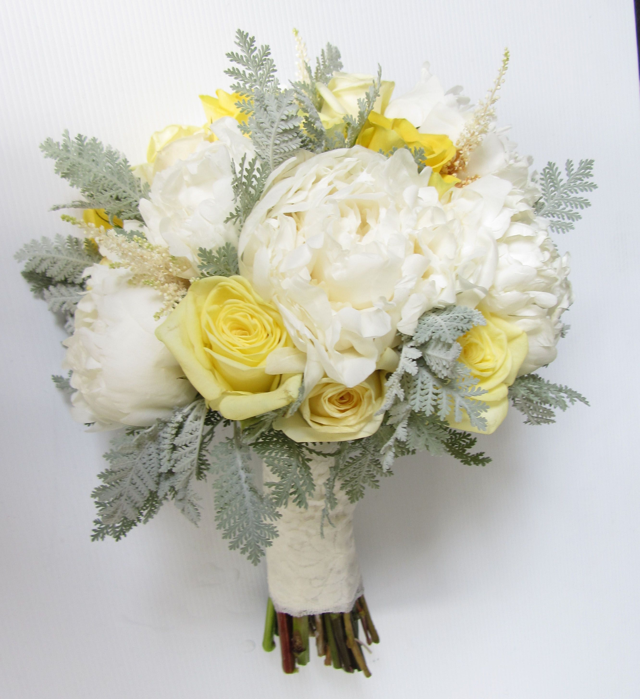 Yellow And Grey Wedding Flowers: Charmed Flowers Bouquet Of Lemon & Bright Yellow Roses And